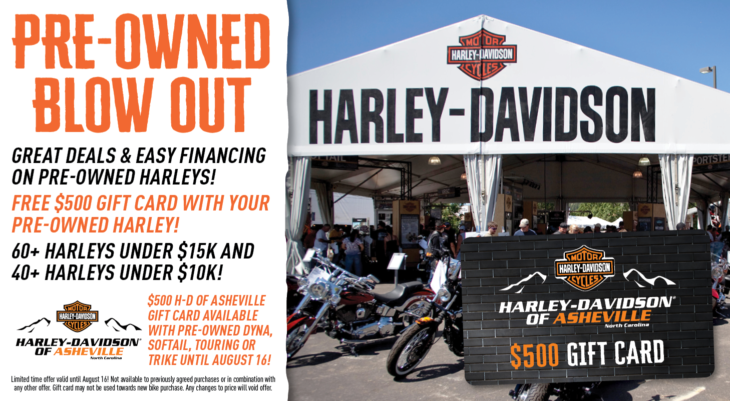 Get a $500 Gift Card with your Pre-Owned Dyna, Softail, Touring or Trike!