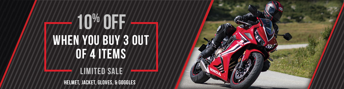 Get 10% Off Your Helmet, Jacket, Gloves or Goggles at Genthe Honda Powersports