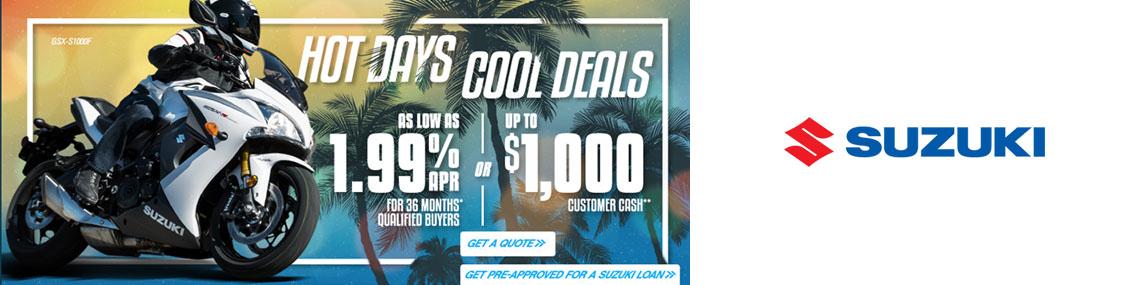 Suzuki Hot Days Cool Deals Promotion at Kent Powersports of Austin