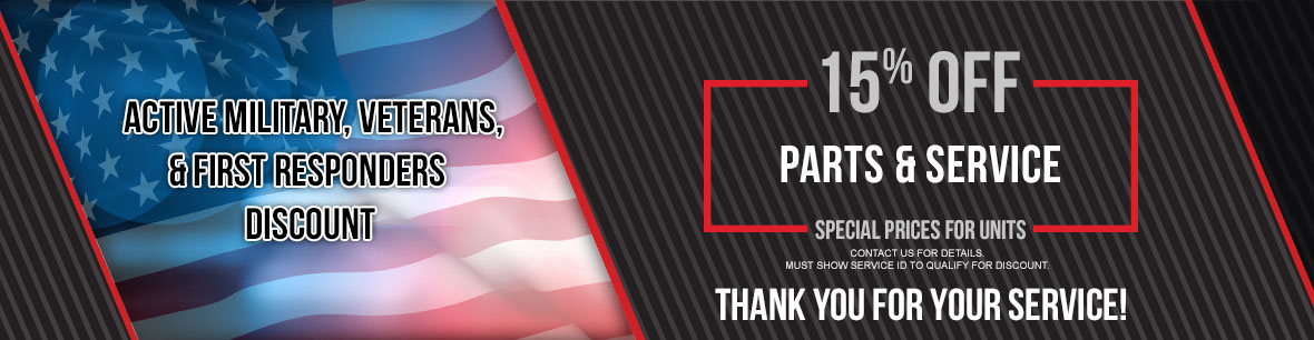 15% Off Parts & Service for Active Military, Veterans & First Responders at Genthe Honda Powersports