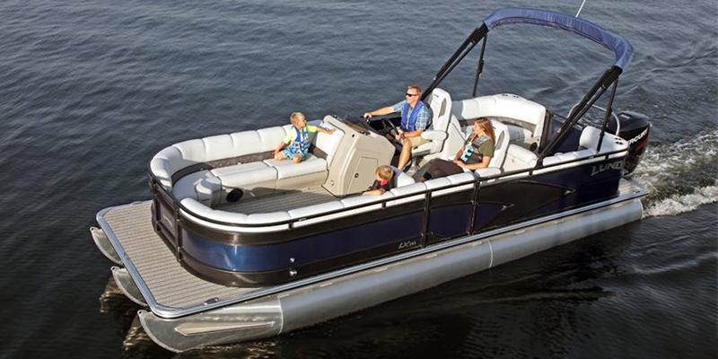 2019 Lund LX 240 Pontoon Boat Walk Thru Dual Seat at Pharo Marine, Waunakee, WI 53597