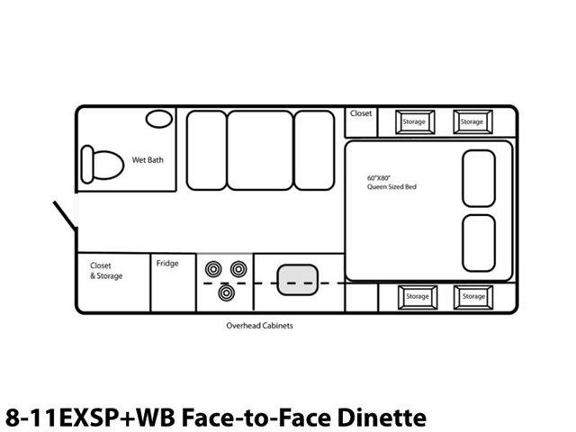 8-11EXSP+WB Face-to-Face Dinette at Prosser's Premium RV Outlet