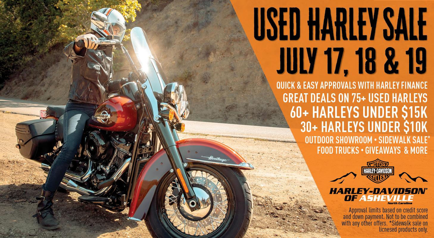 USED HARLEY SALE July 17-19 at Harley-Davidson of Asheville!