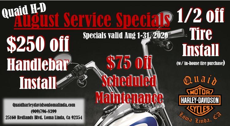 Quaid Harley-Davidson August Service Department Specials $75 off scheduled maintenance