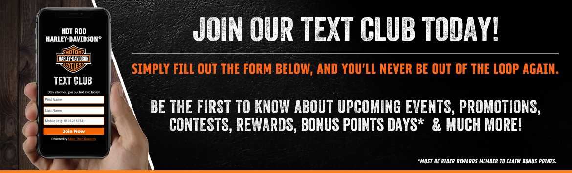 Join Our Text Club at Hot Rod Harley-Davidson