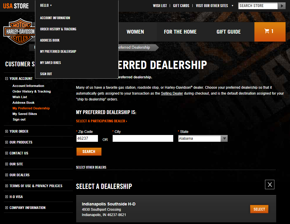Shop Online At Indianapolis Southside Harley-Davidson