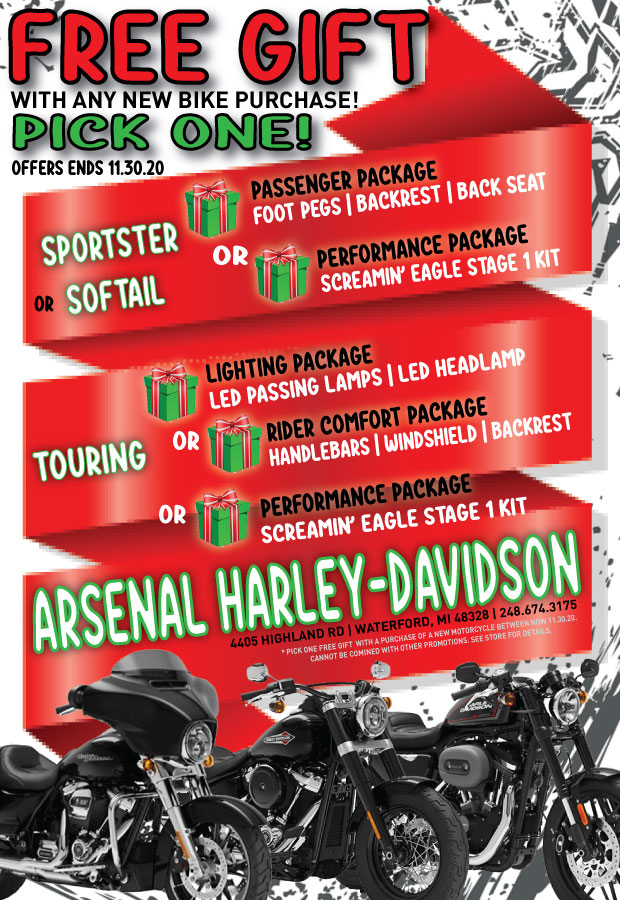 Free Gift With A New Bike Purchase - Arsenal Harley