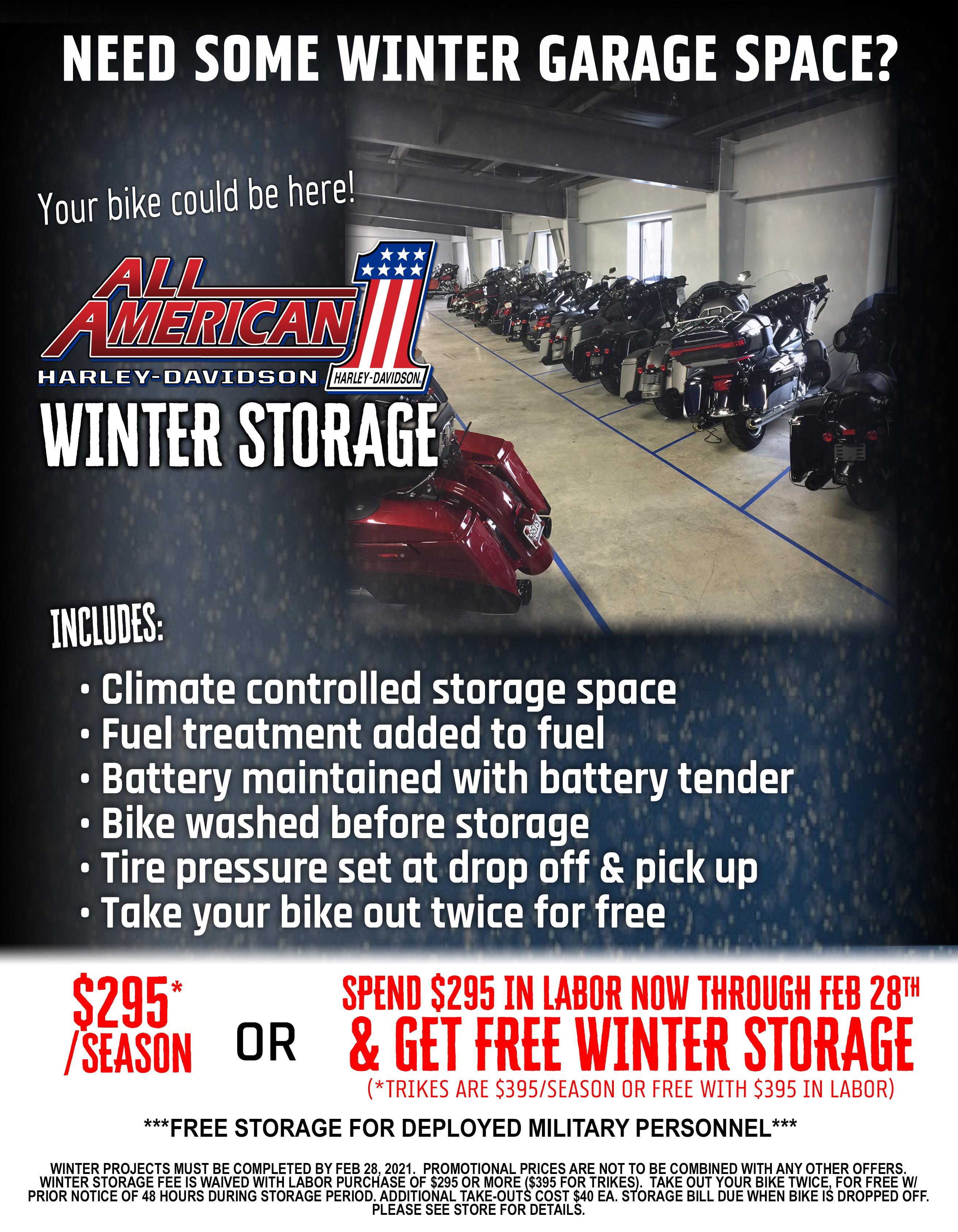 Harley-Davidson Service Department- Winter storage