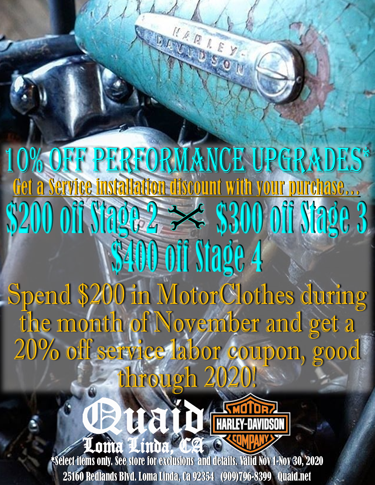 Quaid Harley-Davidson specials for November. 10% off performance upgrades and service labor discounts.