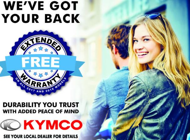 KYMCO Free Extended Warranty at Lincoln Power Sports, Moscow Mills, MO 63362