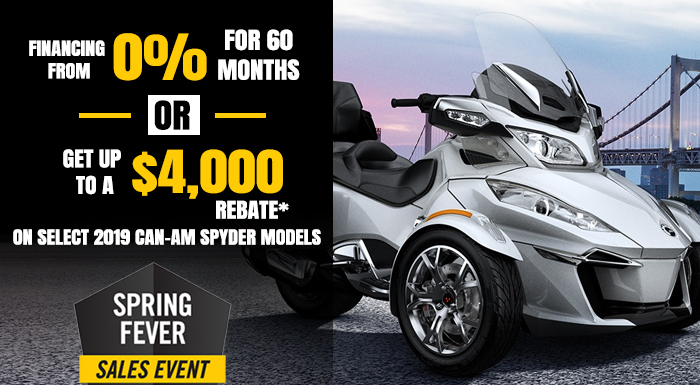 SPRING FEVER SALES EVENT CAN-AM SPYDER at Wild West Motoplex