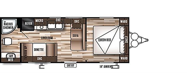 2019 Forest River Wildwood X-Lite 241 QBXL Rear Bath at Campers RV Center, Shreveport, LA 71129