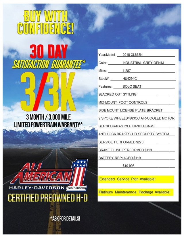 2018 Harley-Davidson Sportster Iron 883 at All American Harley-Davidson, Hughesville, MD 20637