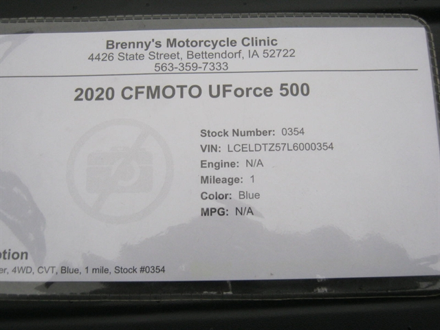 2020 CFMOTO UForce 500 at Brenny's Motorcycle Clinic, Bettendorf, IA 52722