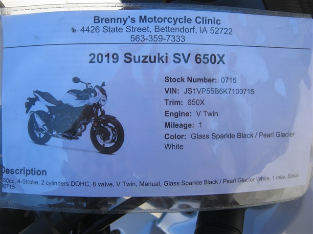 2019 Suzuki SV 650X at Brenny's Motorcycle Clinic, Bettendorf, IA 52722
