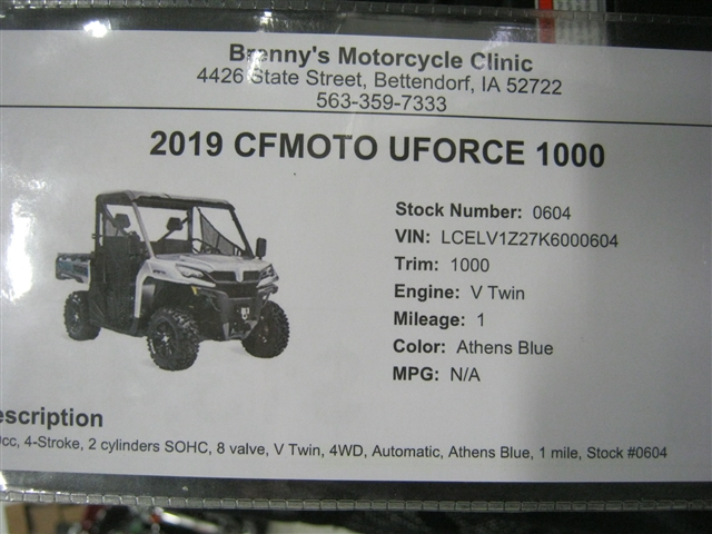2019 CFMOTO UFORCE 1000 at Brenny's Motorcycle Clinic, Bettendorf, IA 52722