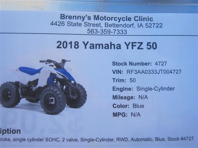 2018 Yamaha YFZ 50 at Brenny's Motorcycle Clinic, Bettendorf, IA 52722
