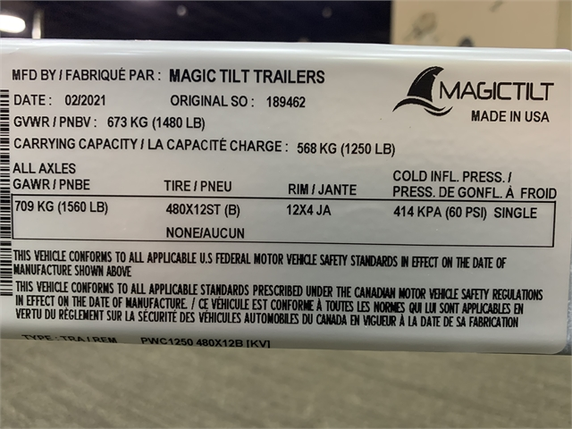 2021 Magic Tilt PWC Series Single **PWC1250 at Sun Sports Cycle & Watercraft, Inc.