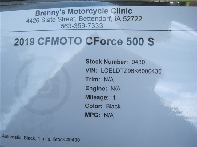 2019 CFMOTO CForce 500 S at Brenny's Motorcycle Clinic, Bettendorf, IA 52722
