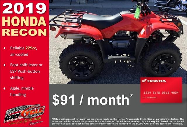 2019 Honda Recon Base at Bay Cycle Sales