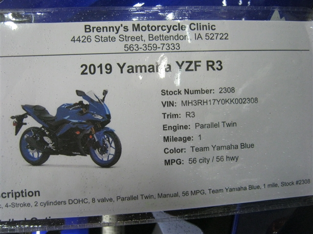 2019 Yamaha YZF R3 at Brenny's Motorcycle Clinic, Bettendorf, IA 52722
