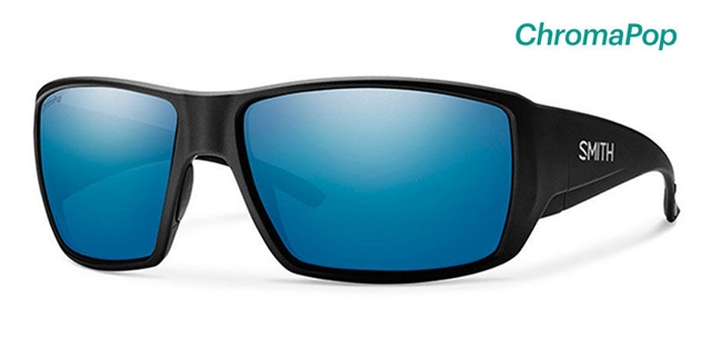2018 Smith Guide's Choice Matte Black w/ CP Blue Mirror Polarized at Harsh Outdoors, Eaton, CO 80615