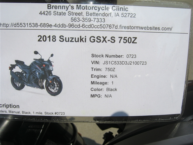 2018 Suzuki GSX-S 750Z at Brenny's Motorcycle Clinic, Bettendorf, IA 52722