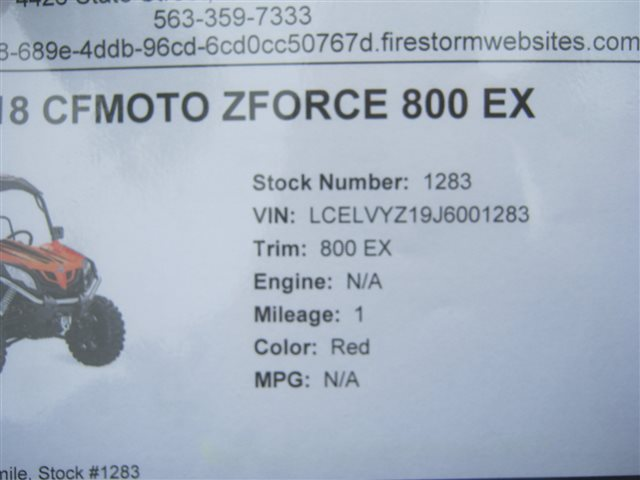 2018 CFMOTO ZFORCE 800 EX at Brenny's Motorcycle Clinic, Bettendorf, IA 52722