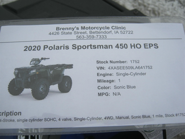 2020 Polaris Sportsman 450 HO EPS at Brenny's Motorcycle Clinic, Bettendorf, IA 52722