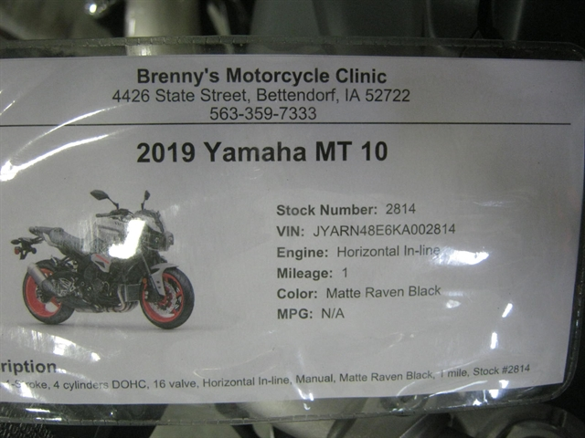 2019 Yamaha MT 10 at Brenny's Motorcycle Clinic, Bettendorf, IA 52722
