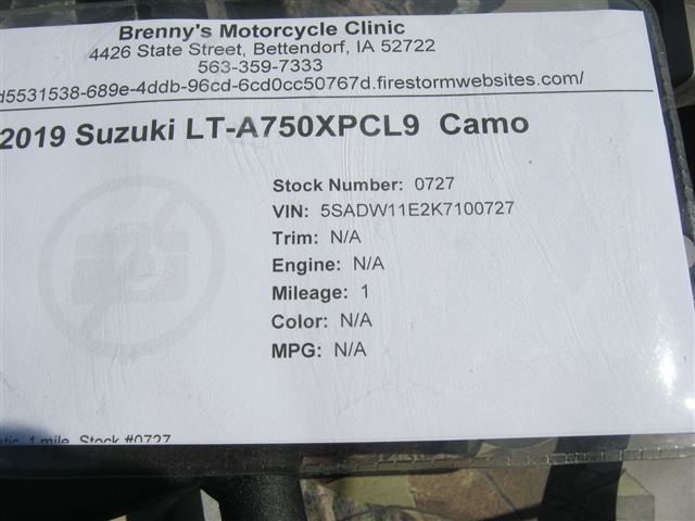2019 Suzuki LT-A750XPCL9  Camo at Brenny's Motorcycle Clinic, Bettendorf, IA 52722