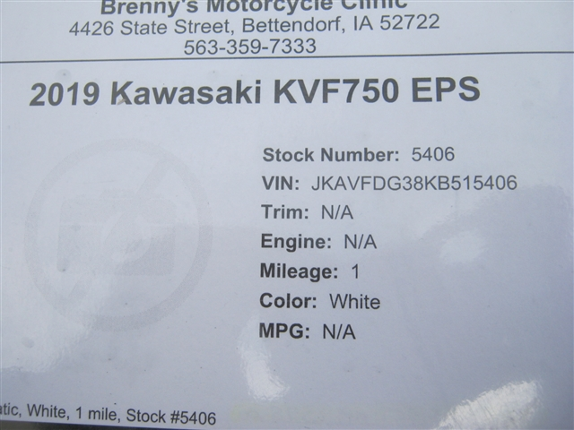 2019 Kawasaki KVF750 EPS at Brenny's Motorcycle Clinic, Bettendorf, IA 52722