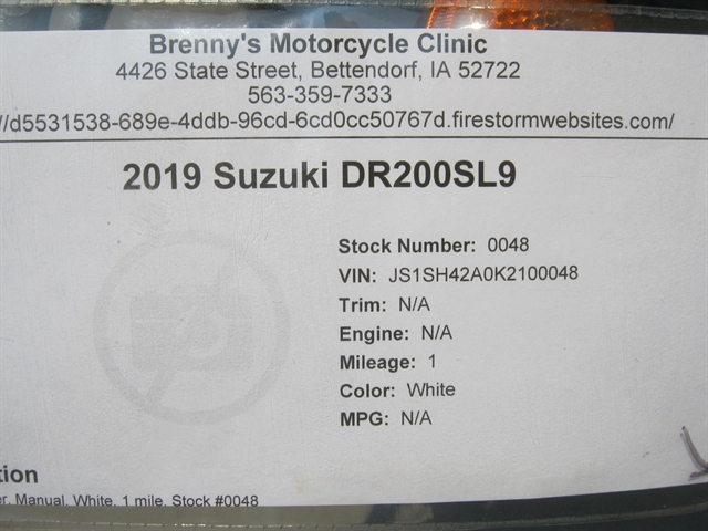 2019 Suzuki DR200SL9 at Brenny's Motorcycle Clinic, Bettendorf, IA 52722