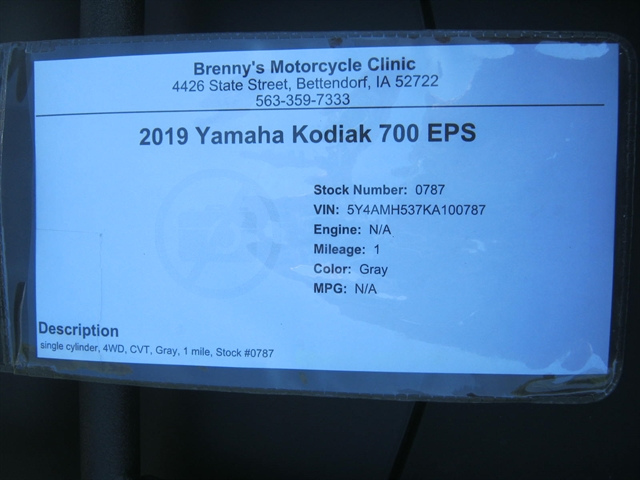 2019 Yamaha Kodiak 700 EPS at Brenny's Motorcycle Clinic, Bettendorf, IA 52722
