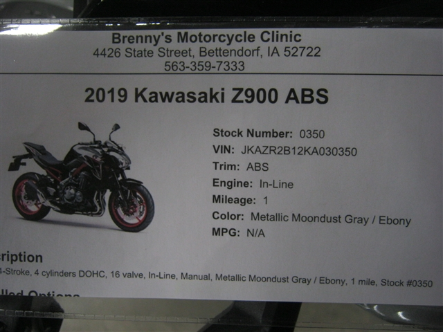 2019 Kawasaki Z900 ABS at Brenny's Motorcycle Clinic, Bettendorf, IA 52722