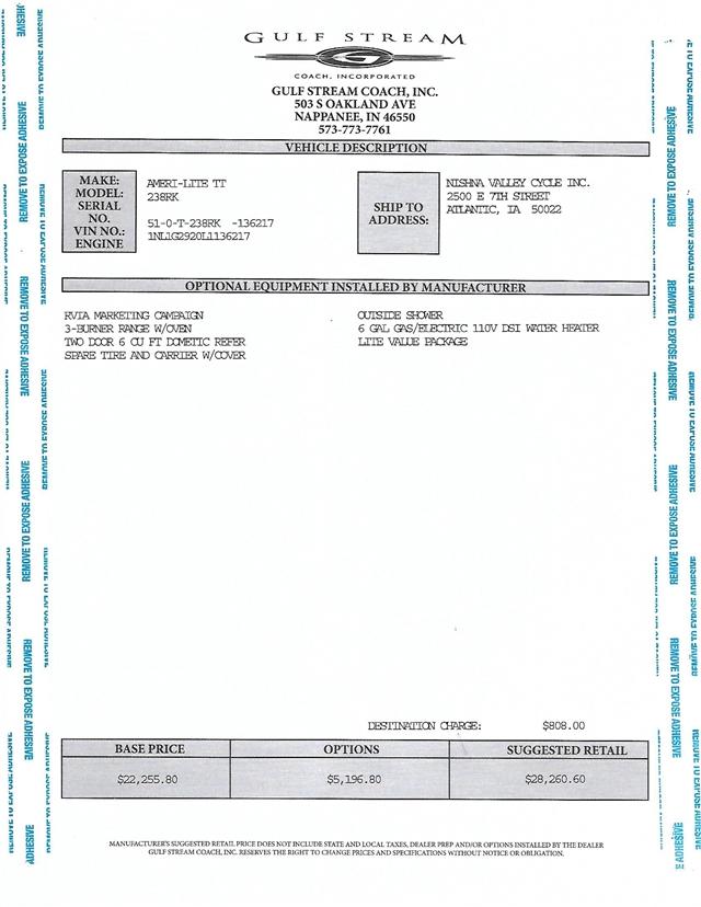 2020 Gulf Stream Ameri-Lite 238RK at Nishna Valley Cycle, Atlantic, IA 50022