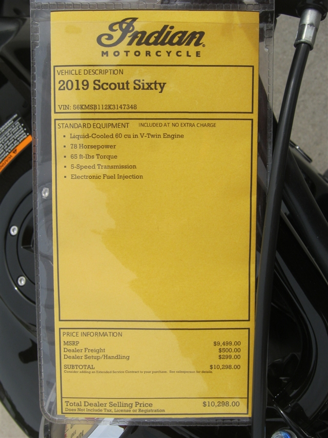 2019 Indian Motorcycle Scout Sixty at Brenny's Motorcycle Clinic, Bettendorf, IA 52722