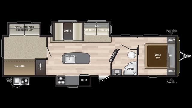 2018 Keystone Hideout 32BHTS Bunk Beds at Campers RV Center, Shreveport, LA 71129