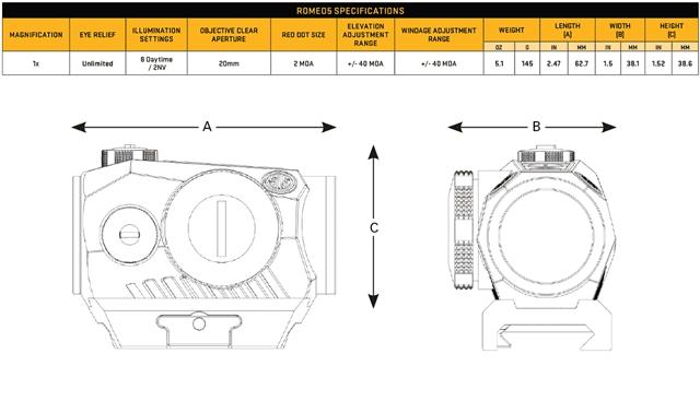 2019 Sig Sauer Optics ROMEO5 Compact Red Dot Sight at Harsh Outdoors, Eaton, CO 80615