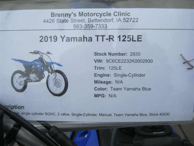 2019 Yamaha TT-R 125LE at Brenny's Motorcycle Clinic, Bettendorf, IA 52722