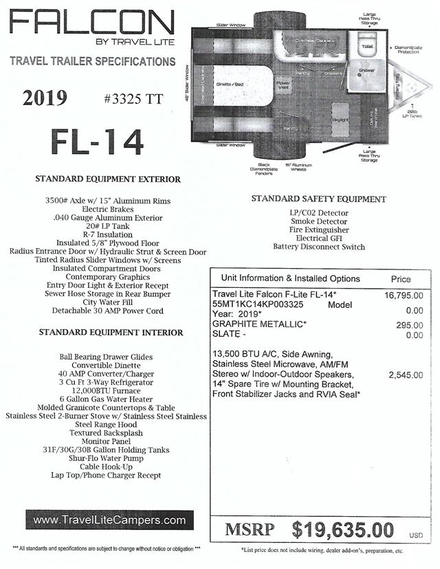 2019 Travel Lite F-Lite FL-14 at Nishna Valley Cycle, Atlantic, IA 50022