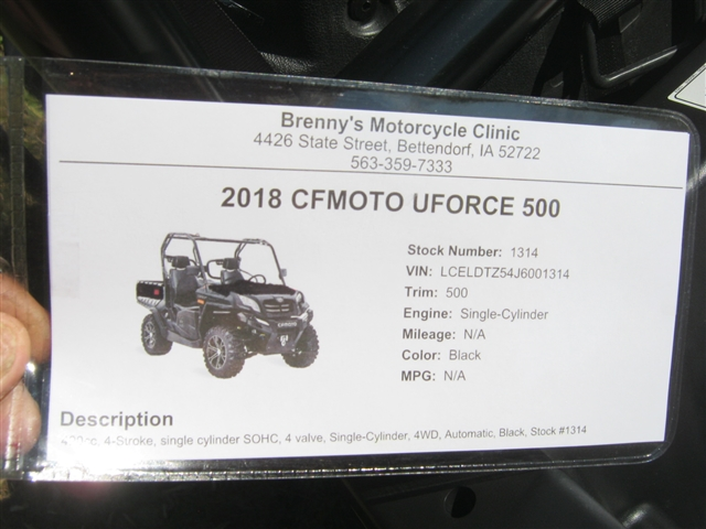 2018 CFMOTO UFORCE 500 at Brenny's Motorcycle Clinic, Bettendorf, IA 52722